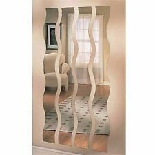 Wave Strip Mirror Wall Mount Set Of 4 Hanging Full Length Decor Art Home Office