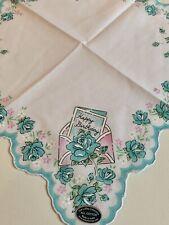 Beautiful New Aqua Roses Happy Birthday Handkerchief - LuRay Hankie!