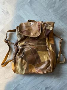 Faux Leather Patchwork Vintage Backpack