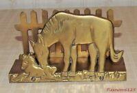Vintage Interpur Brass Napkin Holder Horse & Colt Picket Fence Design