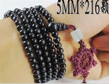 "Tibetan 216 5*4 mm Black Sandalwood Prayer Bead Dharma Wheel Mala Necklace 34"""