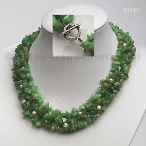 COLLIER Aventurin + Perlen Splitterkette grün Geschenk 01720