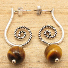 Free Shipping on Additional Items! 925 Silver Plated Real Tiger's Eye Earrings