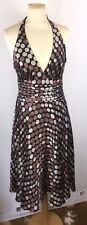Monsoon 100% Silk Halterneck Dress Size 10 Brown Spots Swing Cruise Wedding D242