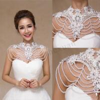 Wedding Bridal Shawl Jacket Wrap Rhinestone Stole Shrug Bolero Lace Beading