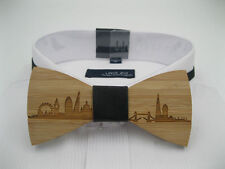 Wooden bow tie. London wood bow tie. Sky line bowtie wooden bamboo tie.