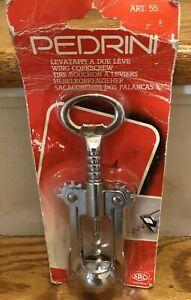 Vintage Pedrini Italy Bottle Opener Corkscrew Wine Opener Stainless BRAND NEW