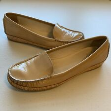 Stuart Weitzman Tan Patent Leather Moc Toe Slip On Loafers Woman's Size 9M