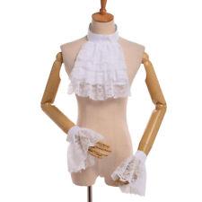 Women Jabot Collar Steampunk Collar & Cuff Set Victorian Detachable Lace Ruffle