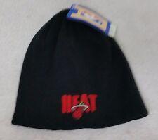 MIAMI HEAT NBA BLACK BASIC LOGO WINTER FITTED KNIT BEANIE HAT SKULLY CAP NWT OS