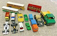 Vintage Lot of 14 Die Cast Cars Bus Truck Racing Majorette Playart Corgi Solido