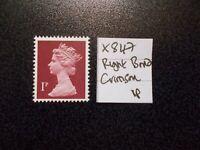 GB 1971+~ Machin~1p~SG X847a~Right Band~Crimson~Unmounted Mint~UK