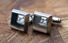 Men's Silver Cufflinks - Diamonte Crystal