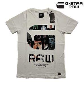 G-star Men's White T-shirt Crew Neck 100% Cotton Short Sleeve Tee Brand New