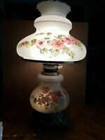 Lg Accurate Casting Floral Glass Hurricane Lamp Beautiful Handpainted  Flowers