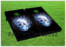 White Skull & Flames Black Cornhole Boards Beanbag Toss Game w Bags Set 1584