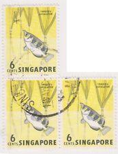 (K65-224) 1962 Singapore 6c archer fish 3block (A)