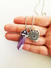 Amethyst Point Necklace Engraved Heart Charm Pendant Crystal Silver Boho NEW