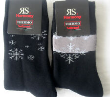 2 Par Mujer Calcetines Térmicos SIN GOMA rizo interior copos de nieve negro 35-