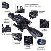 4-16x50EG Rifle Scope w/Reflex Sight &Green Laser&5 Brightness Modes Flashlight
