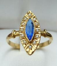 bague ancienne saphir ?perles fines or 18 carats ring gold 18k ring gold 18k