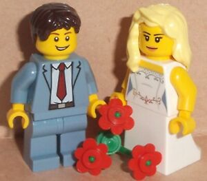 Lego Bride & Groom Wedding Minifigs with Flowers -Changes Available See Pictures