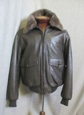 Authentic Imports  Brown Leather Bomber Jacket 44  Vintage Collectible$$$ EUC