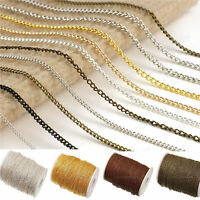 5/100M Silver/Gold Plated Cable Open Link Iron Metal Chain Jewelry Findings Lot