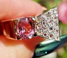 Vintage Pink Tourmaline Rose Cut Diamond 18k rose gold ring