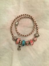 Genuine Pandora Double Strand Taupe Leather Bracelet With 8 Charms