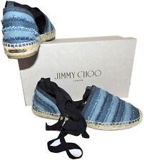 Jimmy Choo Delphine Blue Denim Espadrille Lace Up Shoe Flats Shoes 37.5 - 7.5