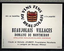 Etiquette de Vin - Beaujolais Villages -Domaine De Montmeron-C.Joubert-Réf.n°302