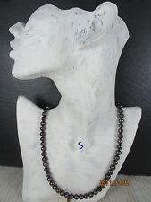 Schwarze Perlenkette   51,5 cm  -  8 mm   Tahiti Perle Zuchtperle NICHT GEFÄRBT