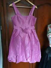 Women Pink Pure Silk Designer Dress by Milan Zi size 10/12 Vintage Style