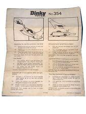 Dinky Toys Vintage 354 Pantera Rosa Hot Rod coche hoja de instrucciones original rara