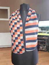 Unisex Grey Orange & Blue Patterned Fleece Scarf