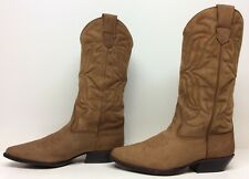 WOMENS SABREE COWBOY LEATHER BROWN BOOTS 5.5 B DEFECTS