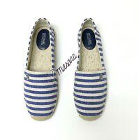 Women MK Michael Kors Kendrick Slip On Sneakers/Loafers Stripe Canvas Nat/Blue
