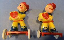 Two Rare Vintage 1950s Plastic Rosbro Cowboy Valentine Candy Container On Wheels