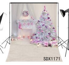 Pink Stocking Xmas Tree Wreath 6X9FT Polyester Photo Background Studio Backdrop
