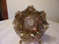 IMPERIAL CARNIVAL GLASS PURPLE BOWL DIAMOND RING