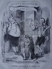 WHERE IGNORANCE IS BLISS - GEORGE CRUIKSHANK 1846 Original Victorian Print