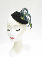 Green Blue Black Peacock Feather Pillbox Hat Headpiece Hair Fascinator Vtg 2262