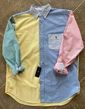 Polo Ralph Lauren Oxford Shirt Mens L Colorblock Multicolor w/ Pony L/S NWT $110