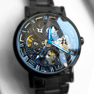 BLACK MENS SKELETON STAINLESS STEEL ANTIQUE STEAMPUNK AUTOMATIC MECHANICAL WATCH