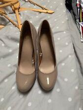 Next Size 8 beige patent platform, stiletto heel court shoes from