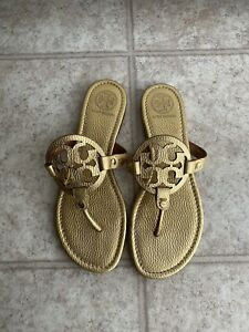 Tory Burch Miller Metallic Gold Pebbled Leather Sandal Size 9M