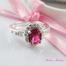 SP Oval Rose Cubic Zirconia Fashion Ring Size 8
