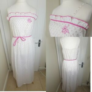 Vintage Size 14 White Pink Floral Embroidered Maxi Nightdress Nightie