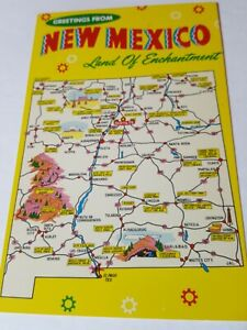 Vintage 1960s postcard GREETINGS FROM NEW MEXICO state map tourism card